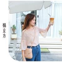 短袖绣花雪纺衫女棉立方2019夏季新款很仙的时尚打底洋气上衣百搭
