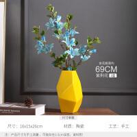 欧式餐桌陶瓷花瓶摆件客厅电视柜创意摆设插花干花简约现代工艺品 奇姿 高黄 紫荆花 2蓝