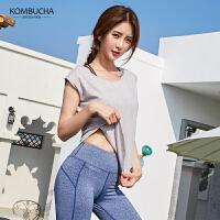 【领券立减30元】Kombucha运动健身套装2019新款女士亲肤透气速干吸汗跳操健身跑步短裤文胸长裤三件套KX8073T2