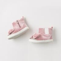 davebella戴维贝拉童装冬季新款女童靴子宝宝加绒保暖棉靴DB11594