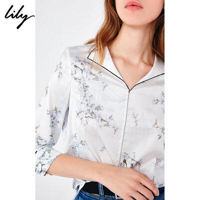 Lily2019夏新款女装白色印花洋气韩版宽松复古V领雪纺衫衬衫8904