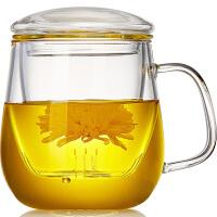 家用茶杯带把茶水分离泡茶玻璃杯带盖办公过滤水杯喝花茶耐热杯子