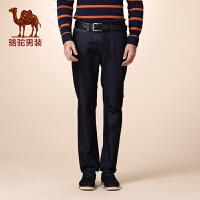 骆驼男装 新品秋款纯色微弹拉链中高腰休闲长裤牛仔裤男