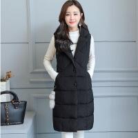 羽绒服秋冬马甲女西装领无袖大码背心加厚韩版修身中长款坎肩外套