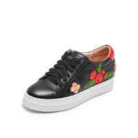 爱旅儿哈森旗下花卉刺绣休闲鞋增高鞋松糕鞋EC75005