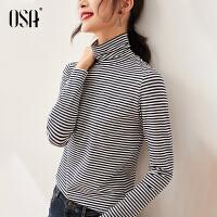 【3折折后价:119元】OSA欧莎2021年秋季新款简约通勤高领蓝白条纹长袖T恤女