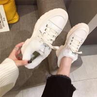 毛毛鞋女2018秋冬季新款�r尚小白鞋女厚底加�q保暖休�e鞋女鞋子