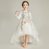 儿童公主裙女童花童婚纱蓬蓬纱长袖晚礼服钢琴表演服