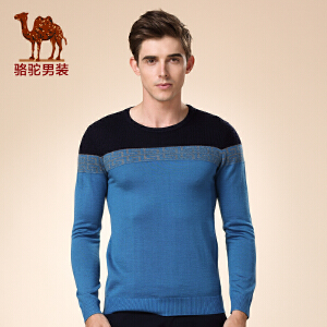 骆驼男装 新品冬款青年套头直筒拼接时尚百搭长袖毛衣男
