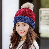 帽子女冬天韩版毛线帽围脖套装加绒加厚针织帽骑车防风护耳保暖帽