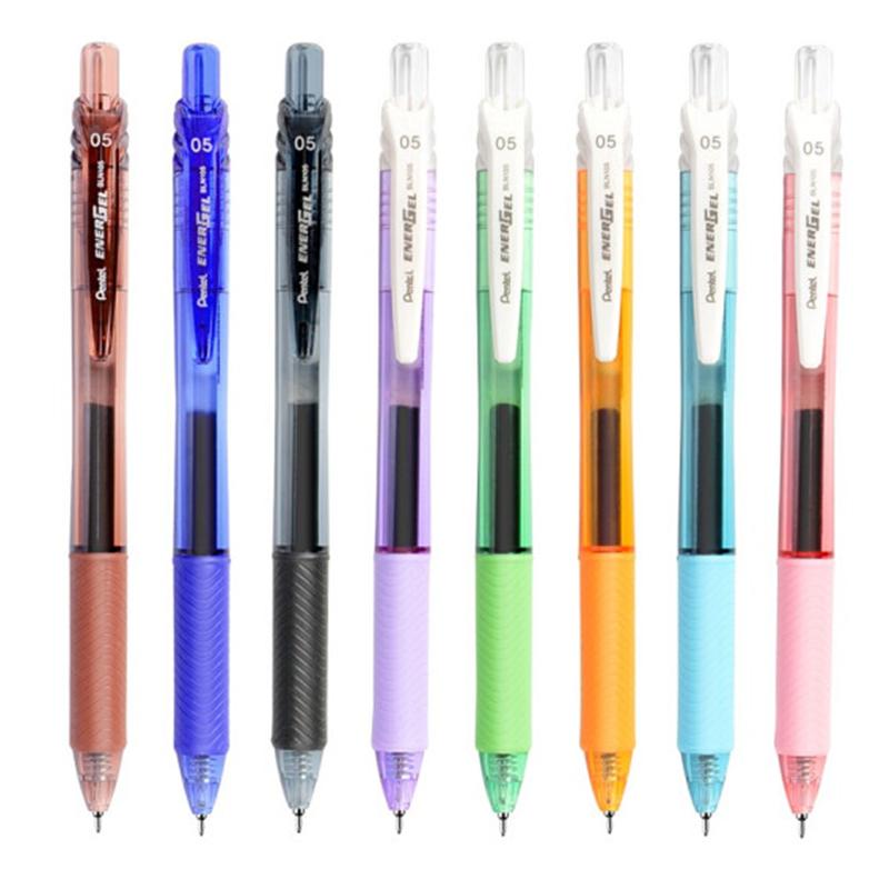 派通 (Pentel) BLN105 按动中性笔 按动水笔 0.5mm 超滑速干签字笔 速干中性笔 颜色鲜艳 速干 偏水性