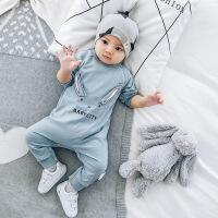 新生婴儿连体衣春秋宝宝哈衣幼儿圆领童装儿童家居服满月外出