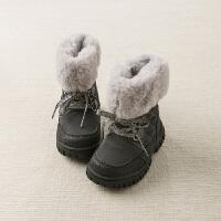 davebella戴维贝拉童装冬季新款女童靴子宝宝加绒保暖棉靴DB11603
