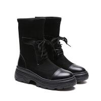 靴子女短靴秋冬2018新款女鞋韩版chic马丁靴弹力靴英伦粗跟瘦瘦靴 黑色