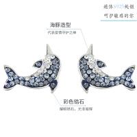 925非老凤祥纯银海豚耳钉 可爱甜美韩国小清新气质学生个性少女心耳饰 海豚耳钉 银饰