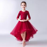 儿童t台走秀主持人钢琴演出服夏季女童红色生日礼服公主裙蓬蓬纱裙