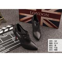 福袋真皮女鞋个性时尚款黑是细跟36码 36
