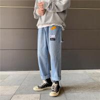 【秋冬新款】2019春秋新款牛仔裤男宽松九分韩版潮流潮牌裤子男 蓝色