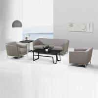 简约现代皮商务灰色办公沙发办公沙发 休闲真皮会客沙发时尚商务会议室接待小沙发组合灰色 牛皮 1+1+3