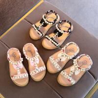 夏季儿童凉鞋女童露趾珍珠公主鞋防滑宝宝鞋