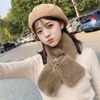 仿兔毛领巾保暖围巾女冬季百搭围脖冬季韩版脖套披肩穿搭可爱少女