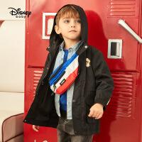 迪士尼童装秋冬新款儿童秋冬上衣宝宝连帽外套男童国潮风衣帅气