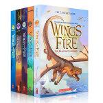 英文原版小说 Wings of Fire 1-5 The Dragonet Prophecy 火翼飞龙5册全套盒装 奇