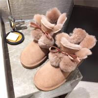 雪地靴女冬季新款百搭学生短筒真皮棉靴韩版加绒保暖羊毛厚底短靴