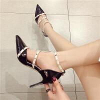 细跟高跟鞋女尖头浅口绑带铆钉女鞋韩版时尚百搭气质女神低帮鞋黑