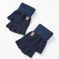 针织五指手套半指男冬天游戏截露指毛线手套男冬保暖学生