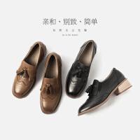 青婉田2018新款学院复古英伦风女鞋真皮中跟布洛克流苏单鞋小皮鞋