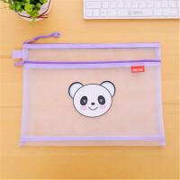 尼龙卡通透明文件袋 A4双层拉链袋学生收纳试卷袋资料袋 尼龙-双层 熊猫