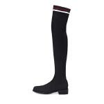 哈森 冬季新款百搭网红弹力瘦瘦靴女 平底过膝长靴袜靴女HA89401