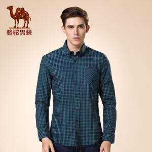 骆驼男装 秋季新款无弹扣领尖领男士格子修身休闲长袖衬衫