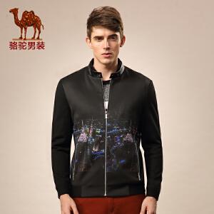 骆驼男装 微弹涤纶收口袖夹克 青春流行拉链修身夹克衫 男