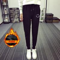 休闲束脚加绒运动裤女韩版学生宽松显瘦冬季外穿加厚哈伦裤子