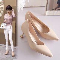 尖头高跟鞋工作细跟猫跟单鞋中跟5cm浅口优雅米色职业显瘦女皮鞋