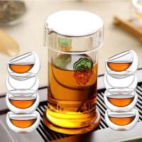 红茶绿茶泡茶器耐高温玻璃茶具茶壶双耳琉璃杯不锈钢过滤公道杯泡 +8品茗杯