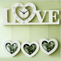 LOVE时尚创意相框挂钟 欧式田园个性客厅卧室时钟静音钟 颜色随机
