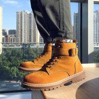 英伦风高帮拉链工装靴子男生韩版秋季中帮短靴新款马丁靴男潮百搭