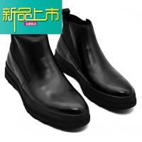 新品上市春秋季靴男真皮马丁靴男英伦厚底高帮皮鞋韩版男靴子短靴潮 黑色