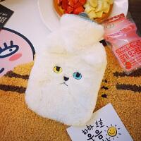 日系可爱卡通动物冬季刺绣橡胶毛绒注水保暖学生便携热水袋暖手宝
