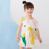 【1件秒杀价:136】马拉丁童装女小童连衣裙2020夏装新款水果印花抽褶短袖连衣裙
