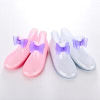 儿童雨鞋女童防滑水鞋宝宝雨靴小孩学生胶鞋幼儿小童公主水晶鞋春