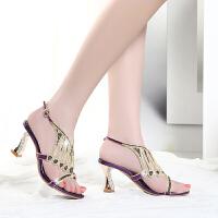 凉鞋女夏季新款凉鞋女水钻中跟镶钻高跟鞋性感韩版粗跟鞋
