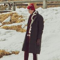 【GXG过年不打烊】GXG男装 男士时尚青年流行经典修身平驳领中长款羽绒服外套男