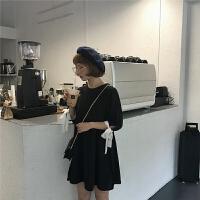 新款连衣裙 夏季女装韩版袖口绑带学院风纯色宽松娃娃领连衣裙雪纺裙 均码
