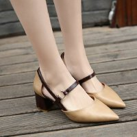 女鞋秋高跟粗跟中跟5cm复古中空单鞋尖头学生工作上班皮鞋学生鞋