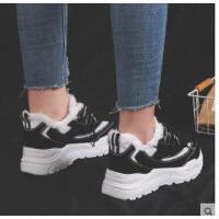 新款加绒运动鞋女跑步老爹原宿ulzzang韩版百搭小白棉鞋