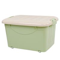 大号收纳箱带轮塑料整理箱子装书盒放衣服中号有盖胶箱学生储物箱抖音